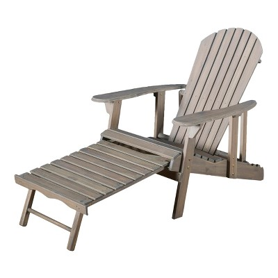 Hayle Reclining Wood Adirondack Chair with Footrest - Gray - Christopher Knight Home