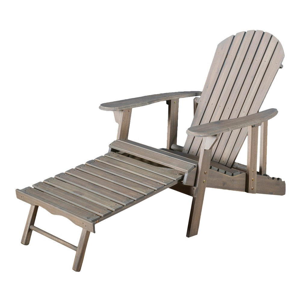 Phenomenal Hayle Reclining Wood Adirondack Chair With Footrest Gray Gamerscity Chair Design For Home Gamerscityorg