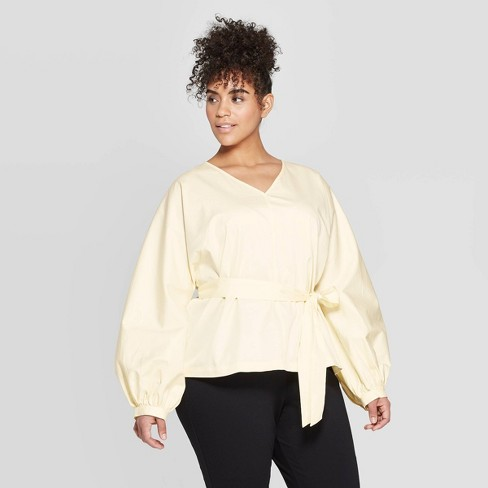 Women's Plus Size Long Sleeve V Neck Tie Waist Dolman Blouse - Prologue™ Yellow - image 1 of 3