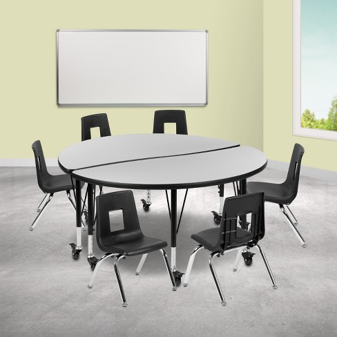 Flash Furniture Mobile 47 5 Circle Wave Collaborative Laminate Activity Table Set With 14 Student Stack Chairs Grey Black Target