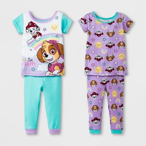 f9455447f Baby Girls  PAW Patrol 4pc Cotton Pajama Set - Aqua Purple 18M   Target