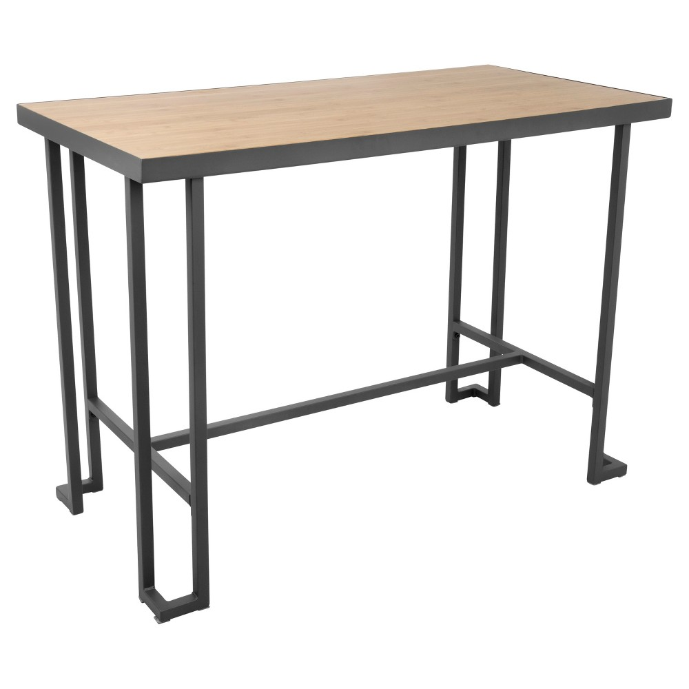 Roman Industrial Counter Table - Gray Metal/Natural Bamboo - Lumisource