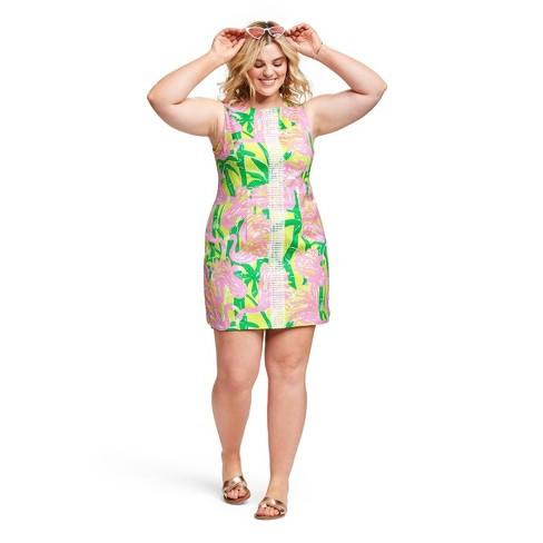 Women\'s Plus Size Fan Dance Sleeveless Round Neck Shift Mini Dress - Lilly  Pulitzer for Target Pink/Yellow