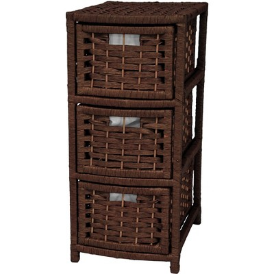"Oriental Furniture 25"" Natural Fiber Occasional Chest of Drawers"