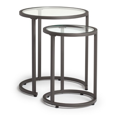 Home Camber Modern Glass Round Nesting Table 20 Inches   Grey   Studio  Designs