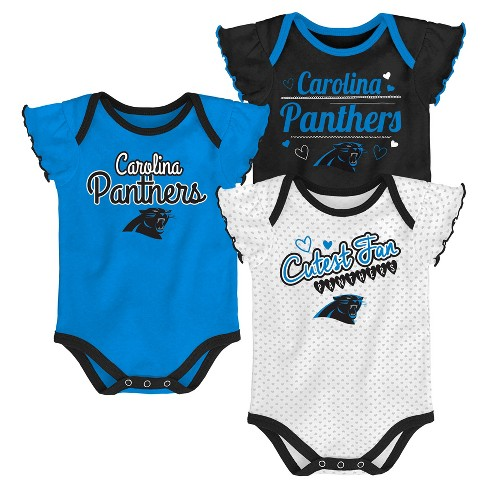 Carolina Panthers Girls  Newest Fan 3pk Bodysuit Set 12 M   Target ffdb6a64a