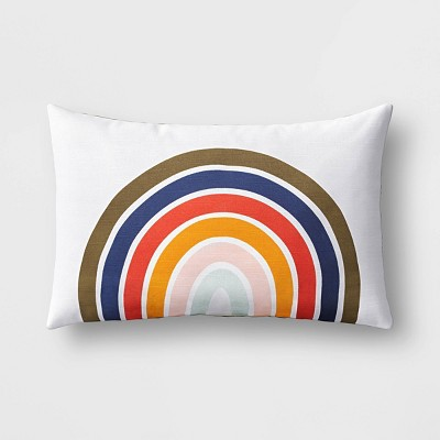 Lumbar Rainbow Pillow Dark Green - Room Essentials™