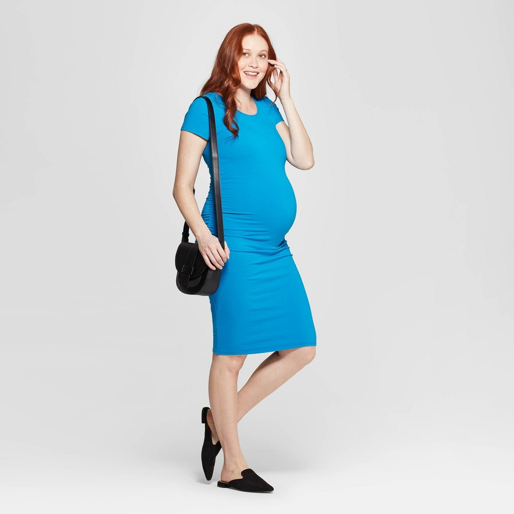 Maternity Short Sleeve Shirred T-Shirt Dress - Isabel Maternity by Ingrid & Isabel Blue L, Women's, Baltic Teal
