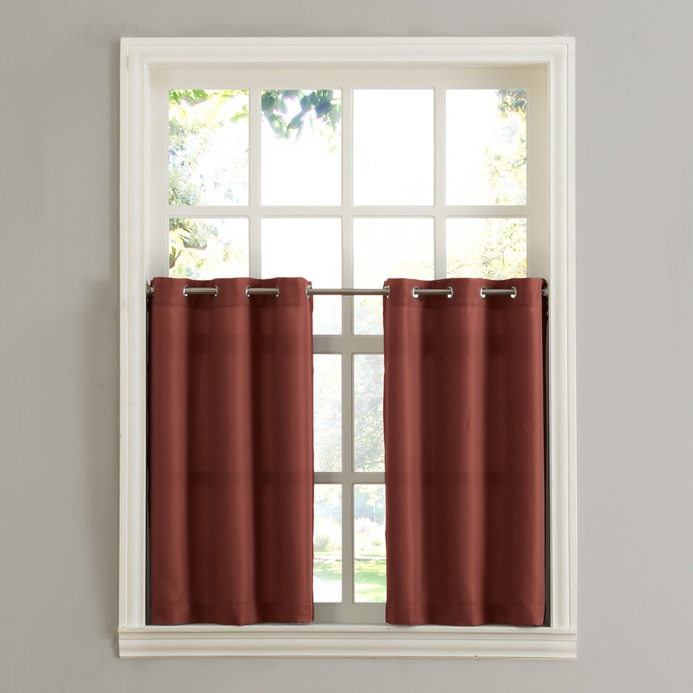 Montego Casual Textured Grommet Kitchen Curtain Tier Pair Paprika (Red) 56