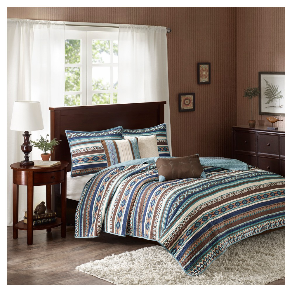 Blue Beau Printed Quilt Set (King/California King) 6pc