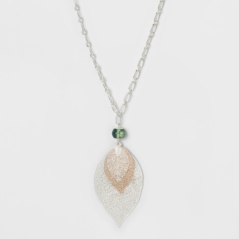 Leaves and Glitzy Long Necklace - A New Day™ Silver - image 1 of 3