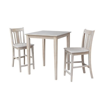 """3pc Solid Wood 30""""x30"""" Counter Height Table and 2 San Remo Dining Sets Washed Gray/Taupe - International Concepts"""