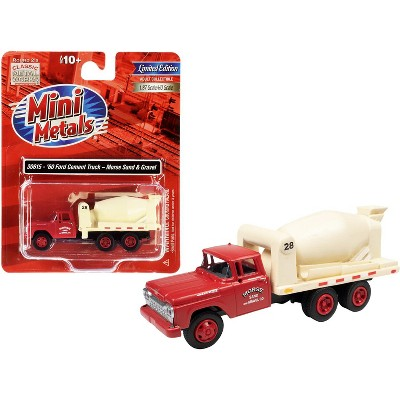 """1960 Ford Cement Mixer Truck """"Morse Sand and Gravel"""" Red and Cream 1/87 (HO) Scale Model by Classic Metal Works"""