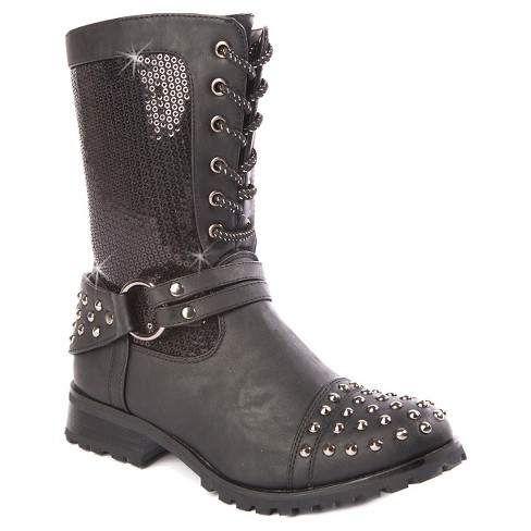 Gia-Mia Girls' Chic Biker Combat Boots - Black - image 1 of 6