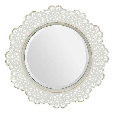 12.5  X 12.5  Metal Lace Wall Mirror Ivory - Stonebriar Collection