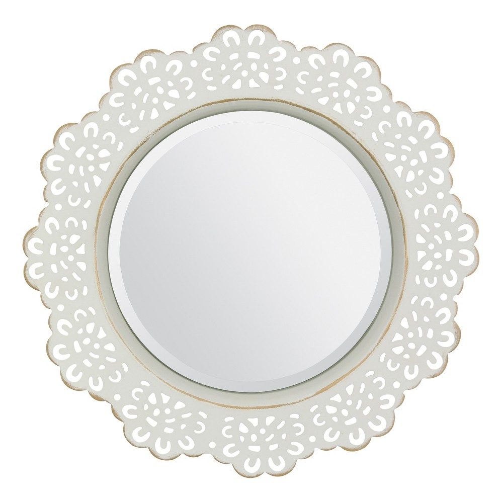 "Image of ""12.5"""" X 12.5"""" Metal Lace Wall Mirror Ivory - Stonebriar Collection"""
