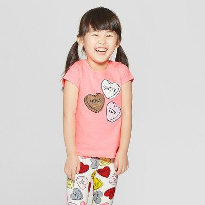 Toddler Girls' Short Sleeve 'Hearts' Graphic T-Shirt - Cat & Jack™ Pink 12M