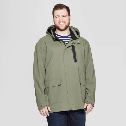 Men's Big & Tall Elevated Rain Jacket - Goodfellow & Co™ Olive - image 1 of 2