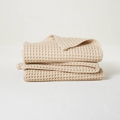 2pk Waffle Bath Towel Set Sand - Casaluna™