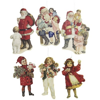 """Holiday Ornament 5.25"""" Children And Santa Dummy Boards Christmas Victorian Toys  -  Tree Ornaments"""