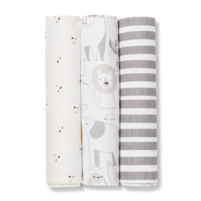 Muslin Swaddle Blanket Animals 3pk - Cloud Island™ Tan/Gray