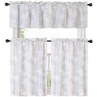 Kate Aurora Brielle Embroidered Linen Kitchen Curtain Tier & Valance Set