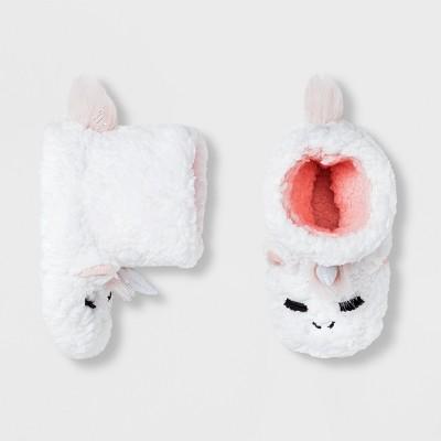 Baby Girls' Unicorn Bootie Slippers - Cat & Jack™ White 12-24M