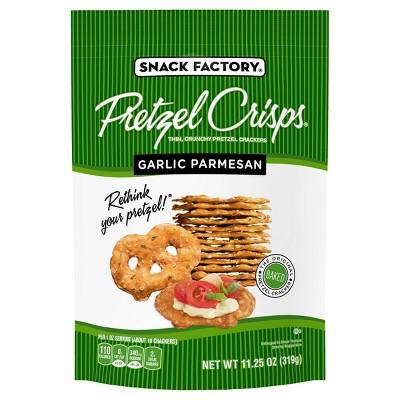 Snack Factory Garlic Parmesan Flavored Pretzel Crisps Crackers - 11.25oz