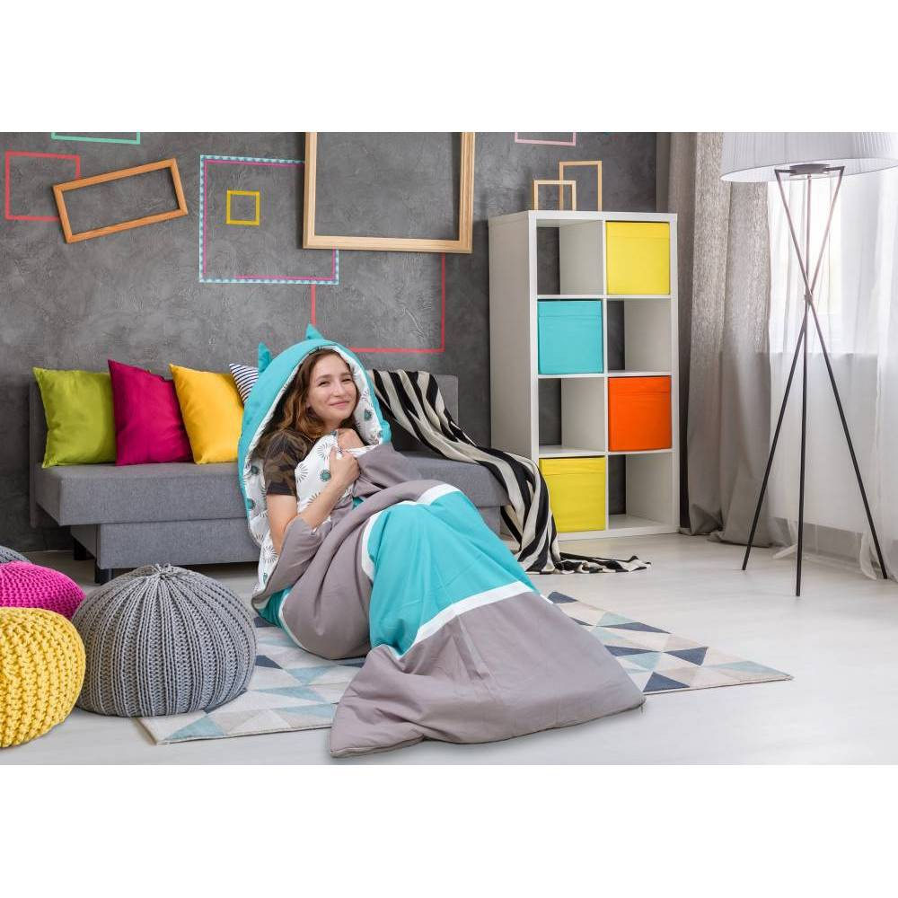 Twin Xl Holger Sleeping Bag Gray Aqua Chic Home Design