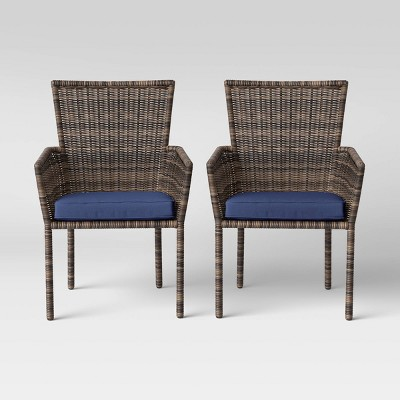 Monroe 2pk Patio Stack Dining Chair Navy - Threshold™