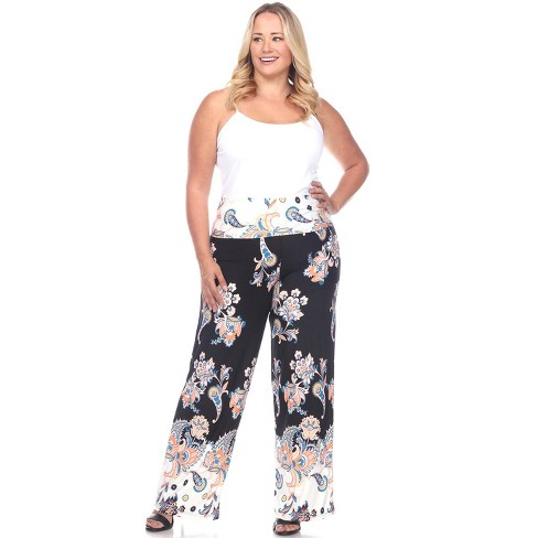 Women's Plus Size Floral Paisley Printed Palazzo Pants - White Mark - image 1 of 3