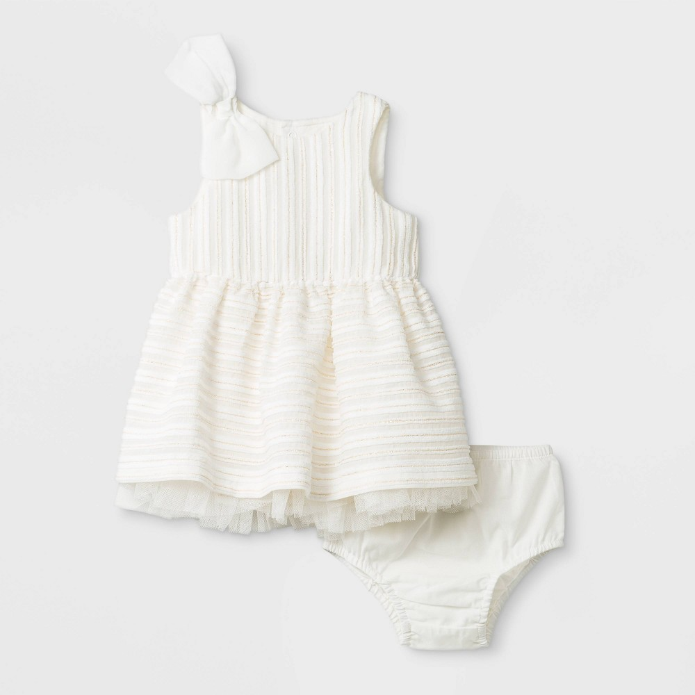 Image of Baby Girls' Dress Set - Cat & Jack Almond Cream 18M, Girl's, White