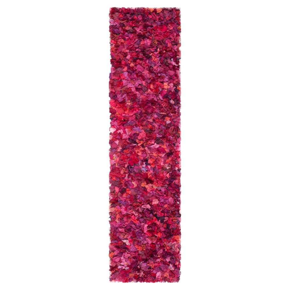 Fuchsia/Multi Solid Loomed Runner - (2'3X9' Runner) - Safavieh, Pink/Multi