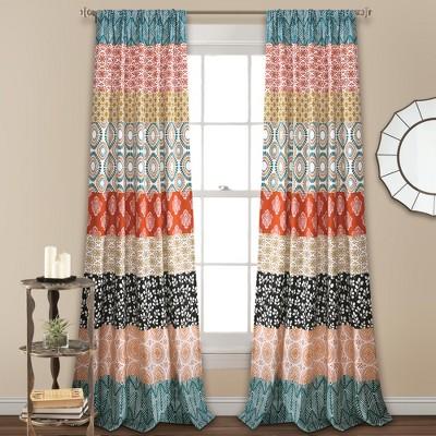 "84""x52"" Bohemian Stripe Window Curtain Panels Turquoise -Lush Décor"