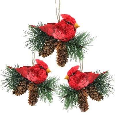 """Northlight 3ct Cardinal Birds on Pine Cones Christmas Ornament Set 5"""" - Red/Brown"""