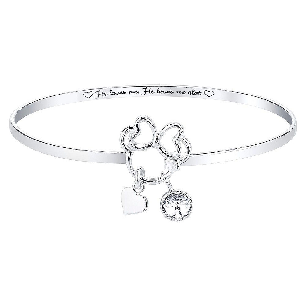 Disney Silver Plated 'He Loves Me. He Loves Me A Lot' with Clear Crystals from Swarovski Bangle Silver (8'), Women's