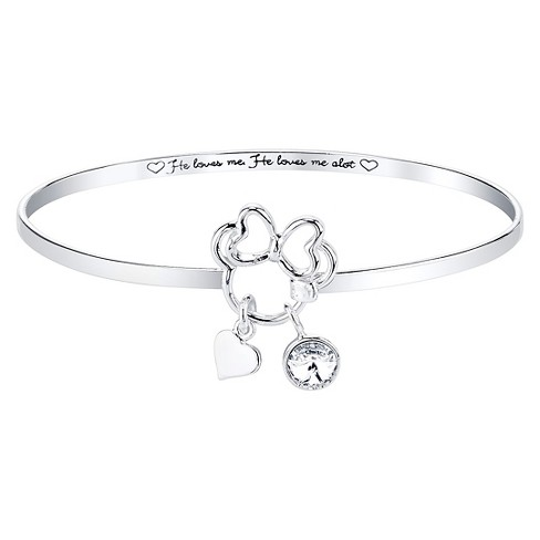 Disney® Silver Plated 'He Loves Me. He Loves Me A Lot' with Clear Crystals from Swarovski Bangle Silver (8') - image 1 of 1