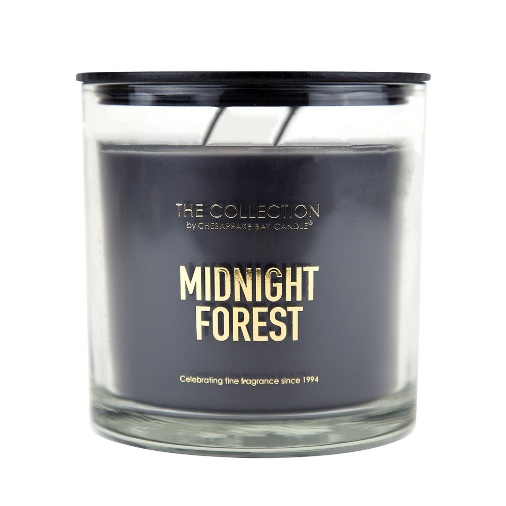 Image of 13oz Glass Jar 2-Wick Candle Midnight Forest - The Collection By Chesapeake Bay Candle, Black