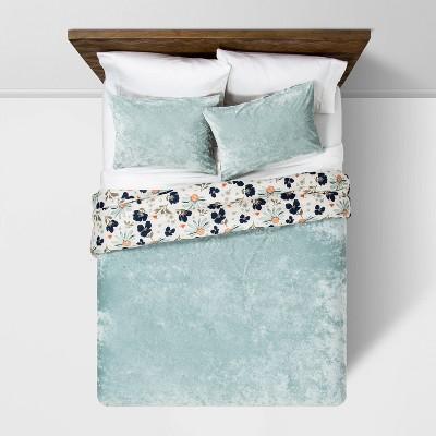 Dusty Jade Reversible Velvet Floral Print F/Q Comforter & Sham Set - Opalhouse™