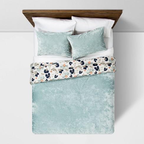 Dusty Jade Reversible Velvet Floral Print Comforter & Sham Set - Opalhouse™ - image 1 of 4