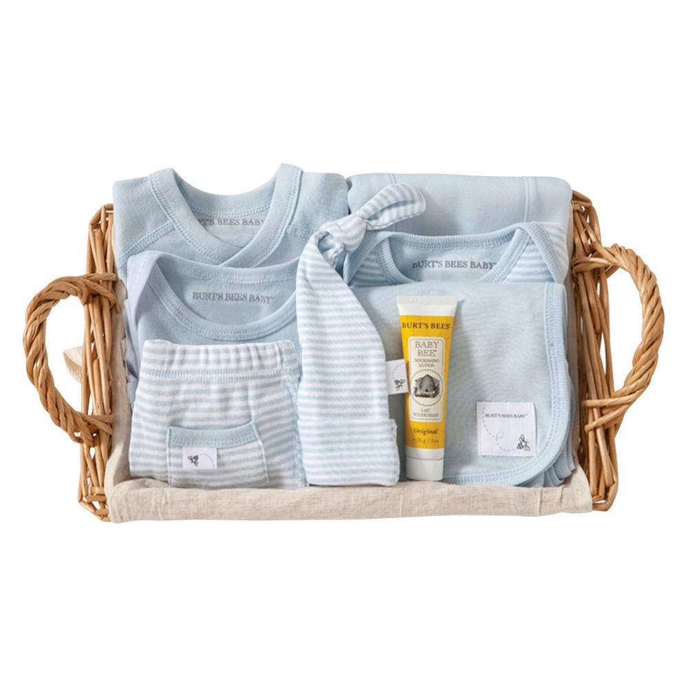 Burt's Bees Baby Organic Take Me Home Striped Gift Basket - Sky 6-9 M, Blue Sky