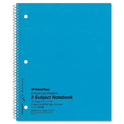 National 3 Subject Wirebound Notebook College Rule 11 x 8 7/8 White 150 Sheets 33386