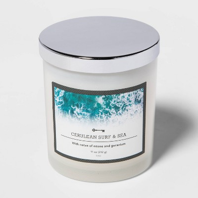 11oz Lidded Milky Glass Jar Cerulean Surf and Sea Candle - Threshold™