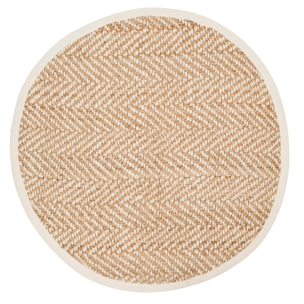 Ivory/Natural Chevron Woven Round Area Rug 6' - Safavieh, White