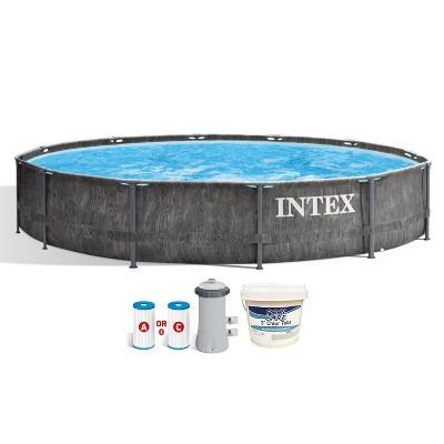 Intex 26749ST 12 Foot x 30 Inch Round Greywood Prism Steel Frame Premium Above Ground Pool Set w/ Filter Pump, Liner, & 3 Inch Chlorine Tabs, 5 lbs