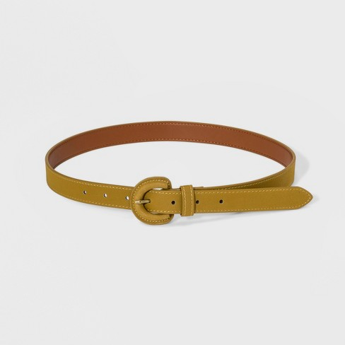 Women's Citron Sueded Cov Buckle Belt - Universal Thread™ Gold - image 1 of 2