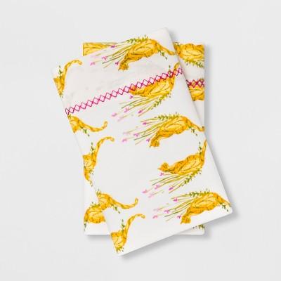 King Cotton Percale Cat Print Pillowcase Set White/Golden Yellow - Opalhouse™