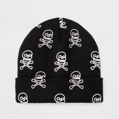 Boys' Halloween Glow in the Dark Skull Beanie - Cat & Jack™ Black