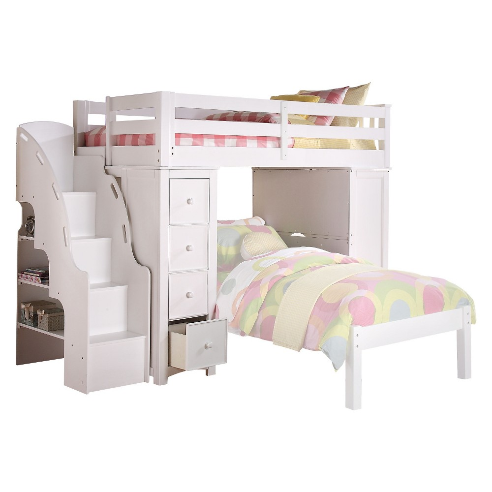 Freya Kids Loft Bed with Bookcase - White(Twin) - Acme
