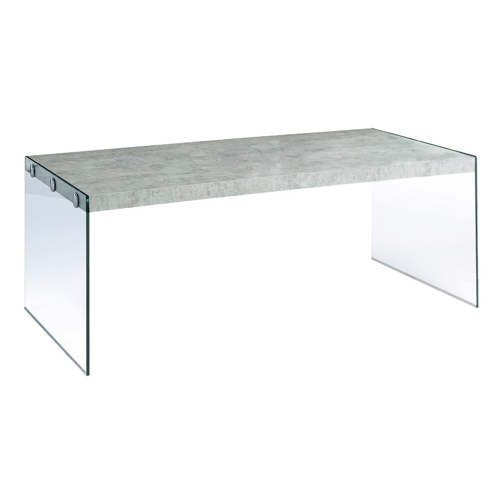 Coffee Table - Grey & Tempered Glass - EveryRoom, Gray